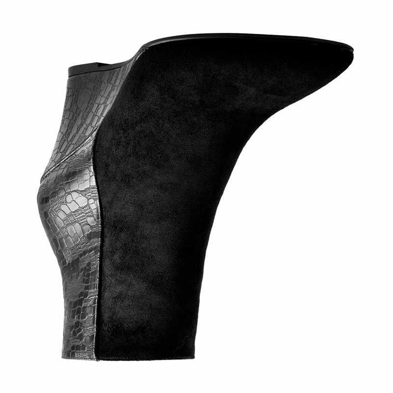 Onlymaker 2019 kadın siyah kama yarım çizmeler kontrast topuk rahat sivri burun yan fermuar kovboy patik artı boyutu 15