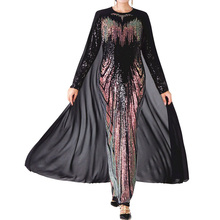 цена на Prom dresses Black Lace Long Sleeve Sexy Sequin Embroidery Long Floor-Length Dress Patchwork Cloak Maxi Gown