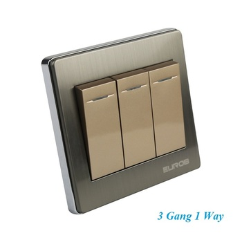 High Quality E9 Series Brushed Stainless Steel Gold Wall Switch With fluorescence 3 Gang Single Control Switch Socket Panel 1