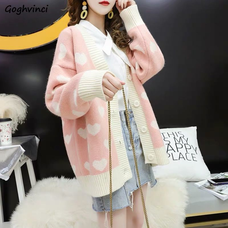 Sweaters Women Print Ulzzang Lovely Womens Sweet V-neck Cardigan Outwear For Oversized Korean Style Detailed All-match Daily New