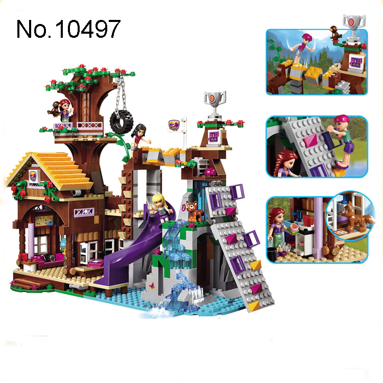 <font><b>10497</b></font> Friend 875pcs Toys For Children Girl Series Adventure Camp Bookstore Building Block Set Bricks Kids Gifts Compatible image