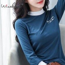 Camiseta de algodón 2020 para mujer, ropa informal con cuello de tortuga, ajustada, elástica, de manga de tres cuartos, T01303Y