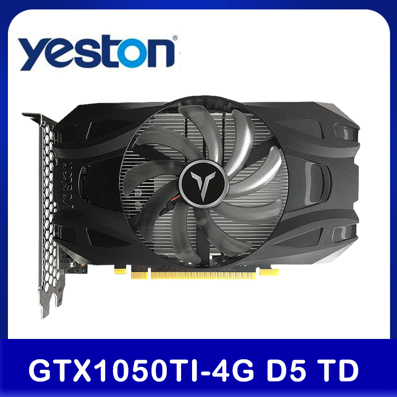 Yeston GTX1050Ti-4G D5 TD Gaming Graphics Card 1291-1392MHz/7008MHz 4G/128bit/GDDR5 Memory DVI-D/HD MI/DP Video Card For Desktop 1