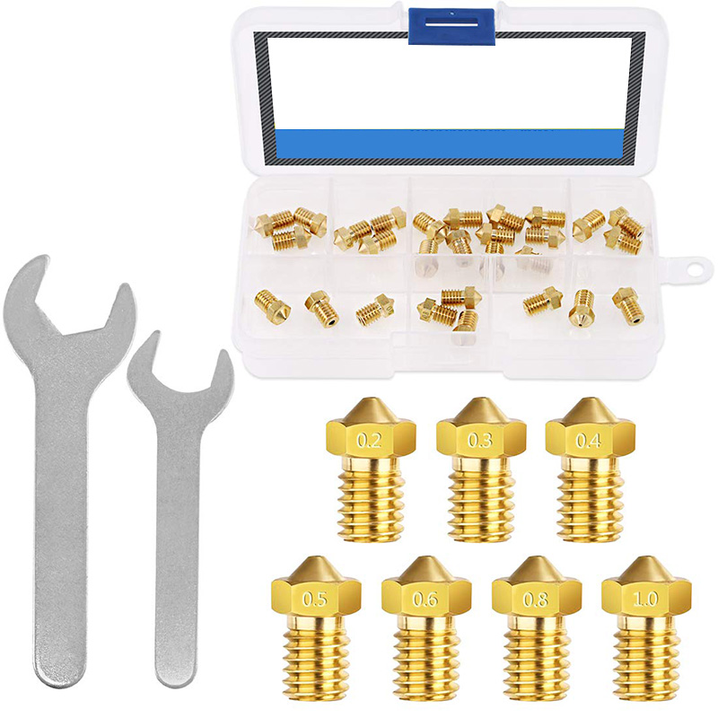 3D Printer Nozzle With Spanner Set, 28Pcs Brass Extruder Print Head Hotend Nozzle Compatible With MK8 CR-10 M6 Thread 3D Printe
