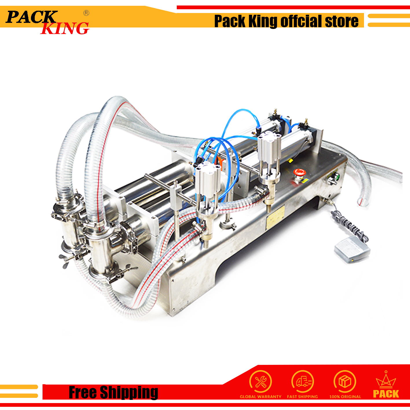 Liquid Filling Machine Pneumatic Drinking Beverage Double Heads Detergent Water Oil Milk Beer Filler Food Safe Free Shipping