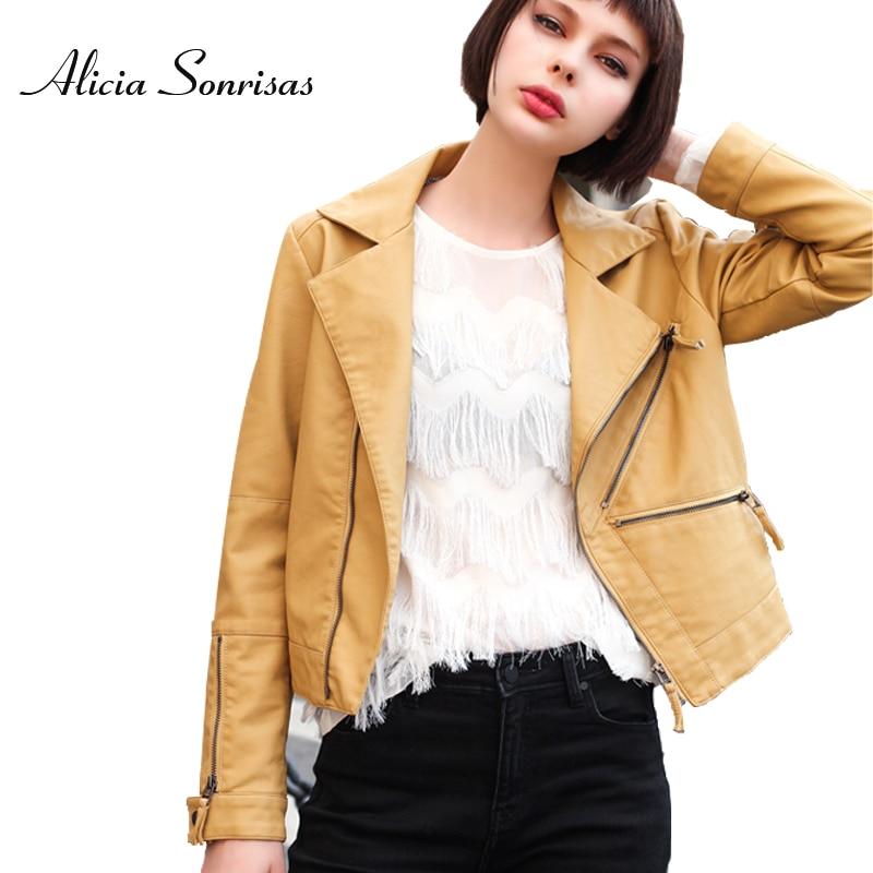 2019 Winter   Leather   Jacket Women Short Slim Yellow Zippers Pockets Pu Faux   Leather   Jackets Black Motorcycle Biker Coats