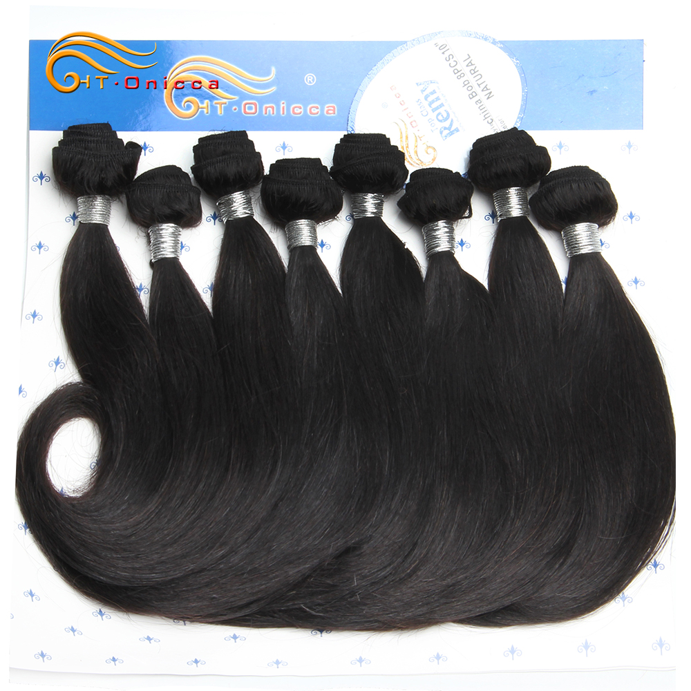 Htonicca Curly Hair Bundles 100% Human Hair Extensions Brazilian Hair Weave Bundles 8Pcs Ombre Bundles For Short Hairstyle