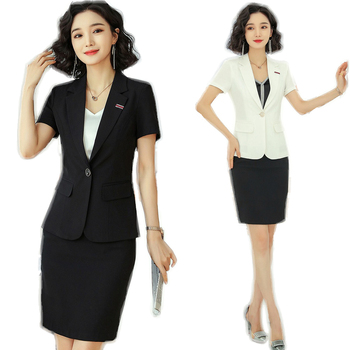 New Formal Female  Women Business Suits Ladies Black Skirt and Blazer Suit Sets Work Wear Uniform OL Styles Skirt and Jacket Set formal work wear uniform styles professional spring summer business suit vest skirt ol blazers women skirt suits outfits sets