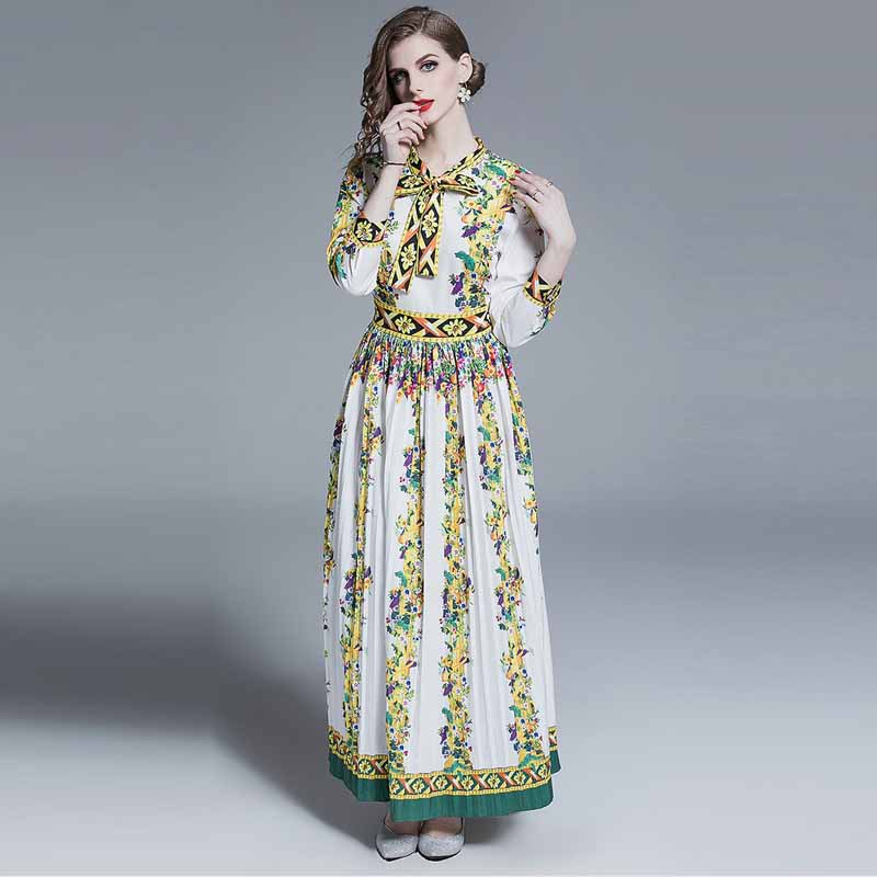 Pressure Pleated Skirt 2019 Early Autumn WOMEN'S Dress-Retro Exquisite Floral Print Bow Collar Long-sleeved Dress