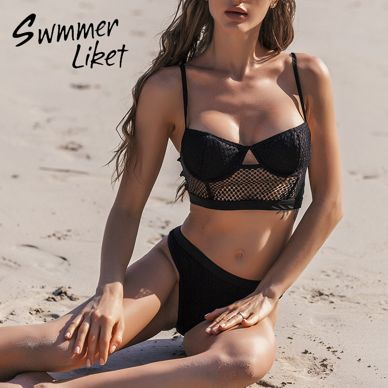 Sexy See Through Swimsuit Female Hollow Out Bikinis 2020 Mujer Push Up Swimwear Women Mesh Lace Bikini Bathers Bathing Suit New