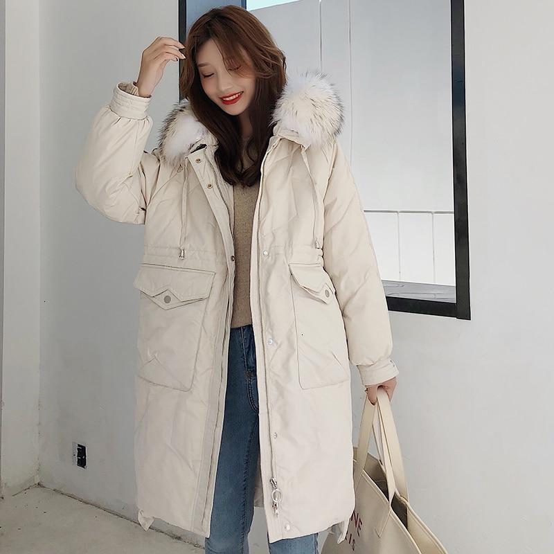 Winter Thicken Warm Long   Down   Jacket Women White Duck   Down   Jacket   Coat   Female Big Fur Collar Hooded Loose Korea   Down   Jacket