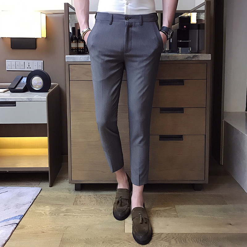 Fried Chicken Stylish Men Summer Slim Fit Casual Small Suit Pants Men's Gentleman Versatile Capri Pants Youth England Single Pan