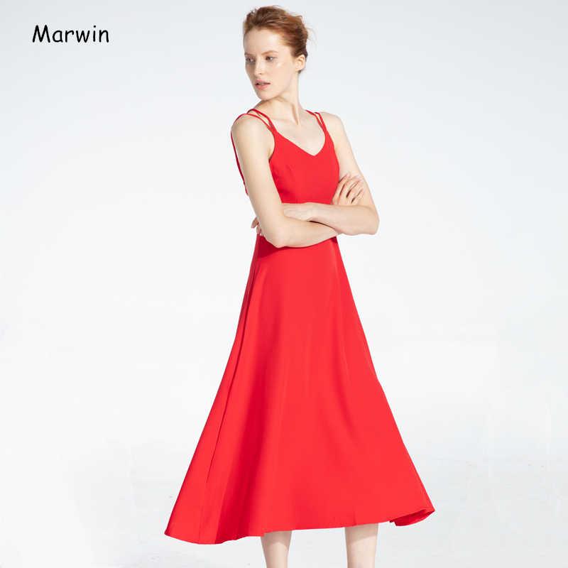 Marwin ใหม่-Coming ฤดูใบไม้ผลิฤดูร้อน Holiday CROSS Spaghetti สายคล้องคอเปิดกลับสไตล์ข้อเท้า-ความยาวผู้หญิงชุด