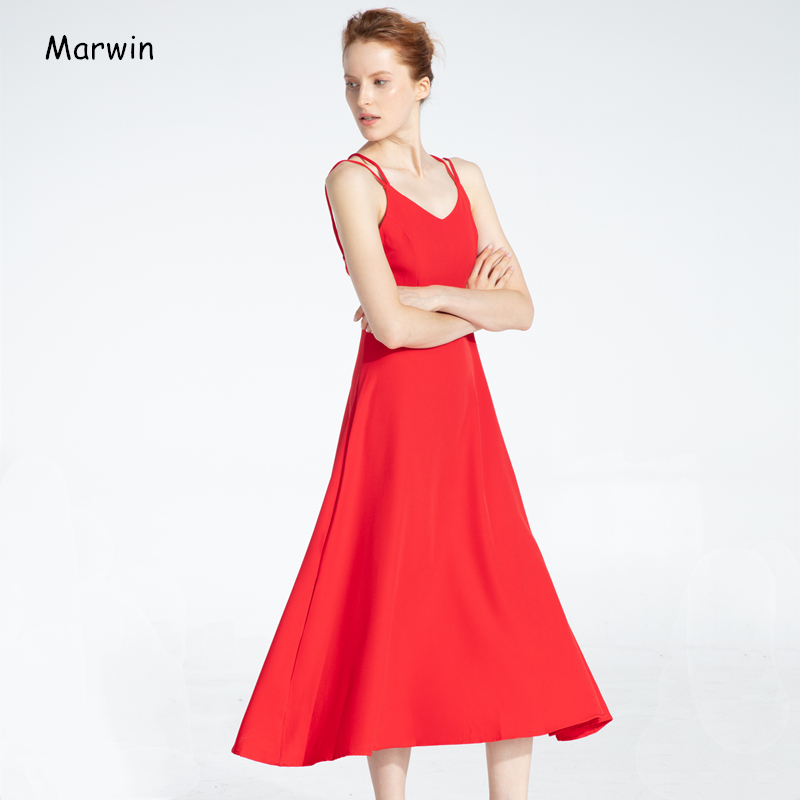Marwin New Coming Spring Summer Holiday Dress Cross Spaghetti Strap Open Back Solid Beach Style Ankle