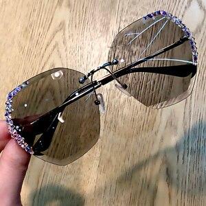 Image 4 - 럭셔리 무테 편광 선글라스 여성 스퀘어 크리스탈 선글라스 남성 빈티지 Oculos Feminino Lentes Gafas De Sol