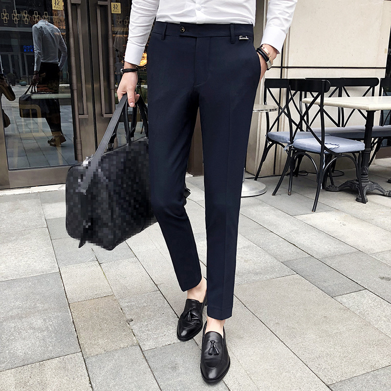 Spring New Style Casual Pants Men's Business British-Style Small Feet Long Pants Korean-style Slim Fit Elasticity Hair Stylist S
