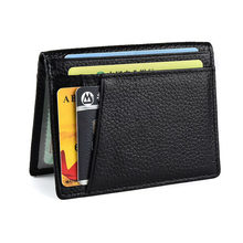 RFID Super Slim Soft Wallet 100% Cowhide Genuine Leather Mini Credit Card Wallet Purse Card Holders Men Wallet thin(China)