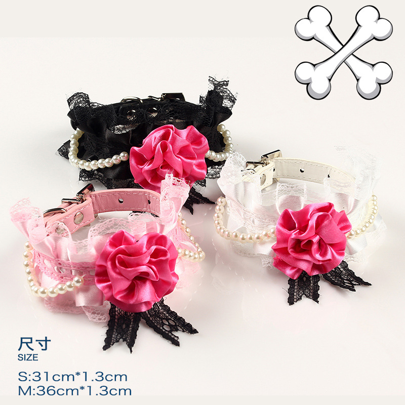 【Chicdog】 Special Offer Lace Pet Collar Three-Color Dog Collar Export