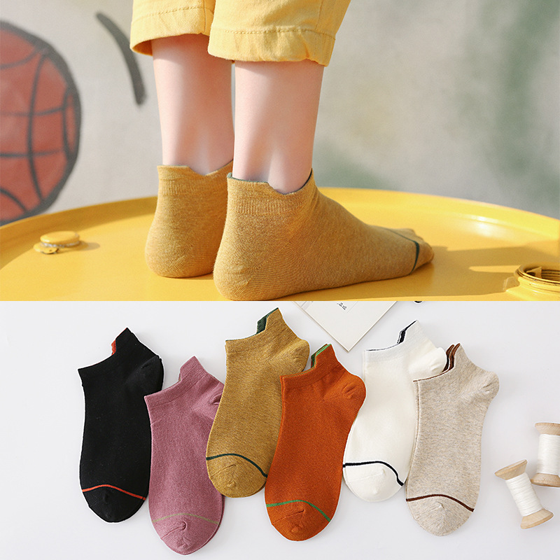 Heel Protection Women's Boat Socks In Spring And Summer Leisure Solid Color Ears Women's Socks Anti Friction Cotton Socks