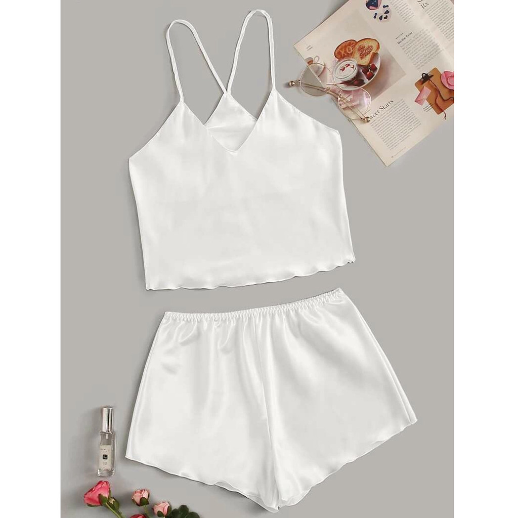 Women Solid Pajamas Set Fall Silk Sweet Summer Cotton Babydoll Sleepwear Sexy Pyjamas Set Tank Top Shorts Nightwear #T5P