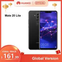 In lager Globale Version Huawei Mate 20 Lite 4G 64G 6,3 zoll Handy EU Ladegerät 24MP Vorne kamera F/2,0 Blende Kirin 710