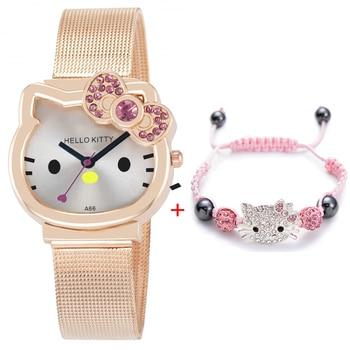 High Quality Cartoon Cute Mesh Stainless Steel Band Quartz Watch Children Kids Girls Boys Casual Bracelet Wristwatch Relogio