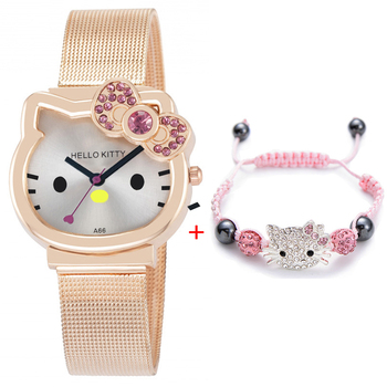 High Quality Cartoon Cute Mesh Stainless Steel Band Quartz Watch Children Kids bracelet Casual Bracelet Wristwatch Relogio