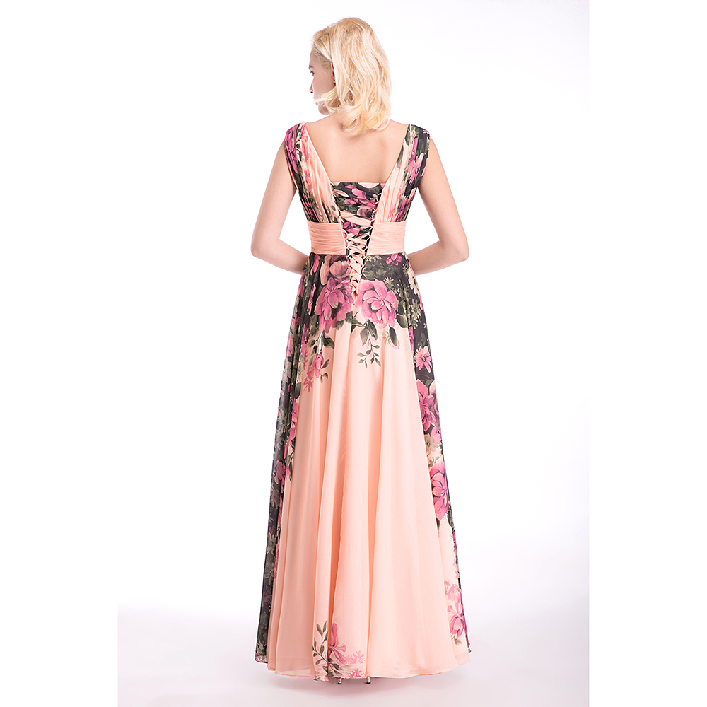 Sexy Long Prom Dresses Long Evening Party Dress Floral Print Chiffon Prom Gown 2019 in Prom Dresses from Weddings Events