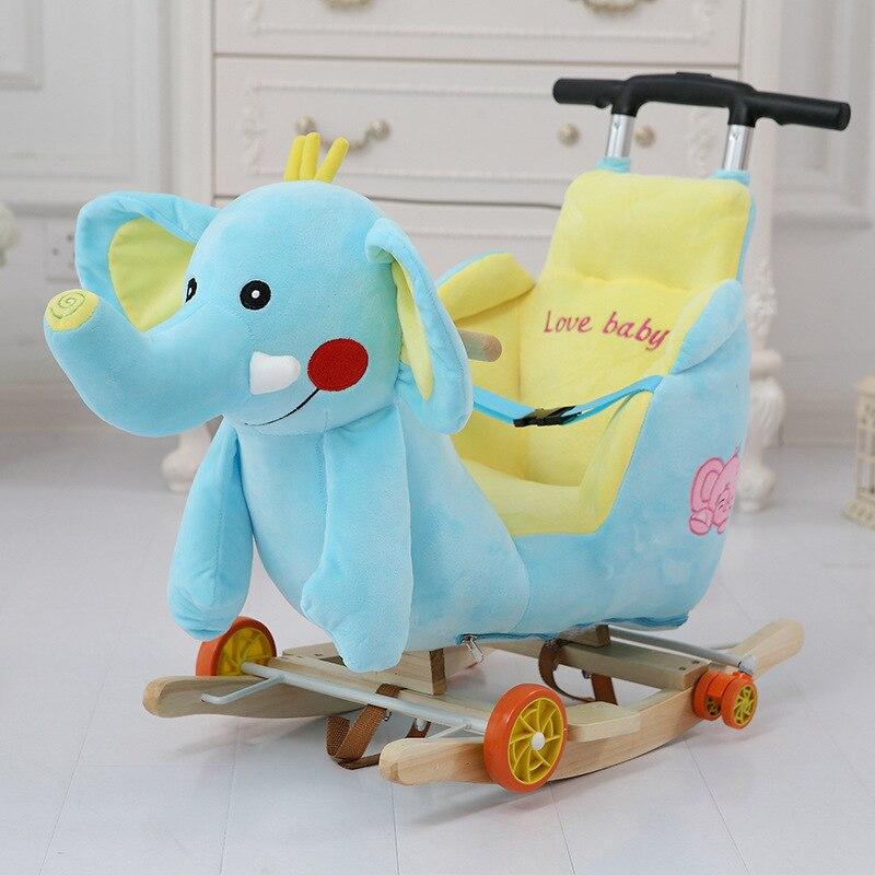 Multi funktion Holz & plüsch tier Einhorn Elefant Bär Schaukel Pferd Trojaner spielzeug Schaukel Stuhl baby wagen Kind trolley auto - 4