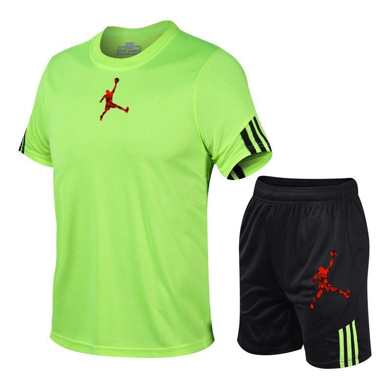 Male Tracksuit Summer Men Jordan-23 Set Fitness Suit Short Sleeve T Shirt+short pants men clothing Quick Drying 2 Piece Set