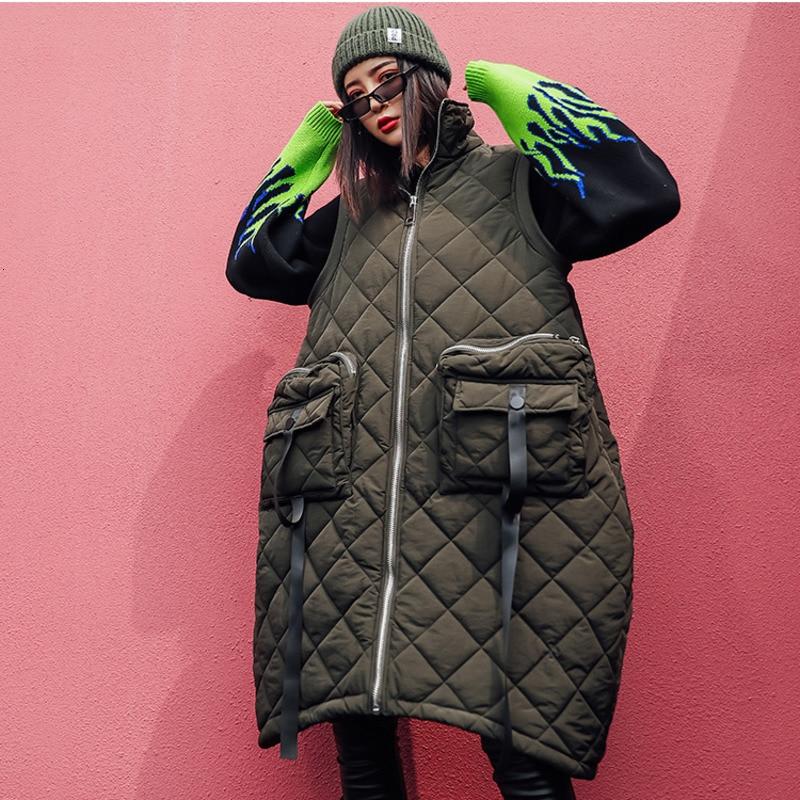 Image 2 - Vefadisa Winter Flocking Sleeveless Vest Woman 2019 Zippers  Pockets Vest Coat Loose Cotton padded Vest Black Brown QYF1262Vests