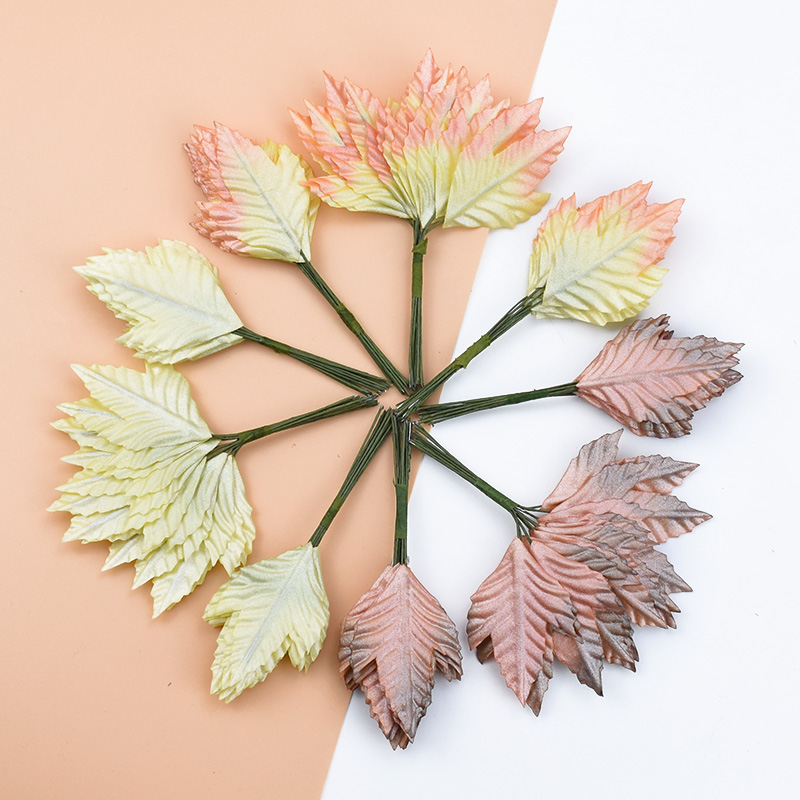 12pcs Cheap  Christmas Leaf Decorations For Home Flower Wall Scrapbooking New Year Decoration Candy Box Artificial Plants Leaves