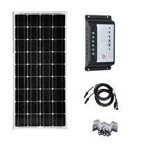100 Watt 12V Solar Panels Kit  20A Charge Controller for Off-Grid 12 Volt Battery System Car Caravan Car Motorhomes Rv PV Cable стоимость