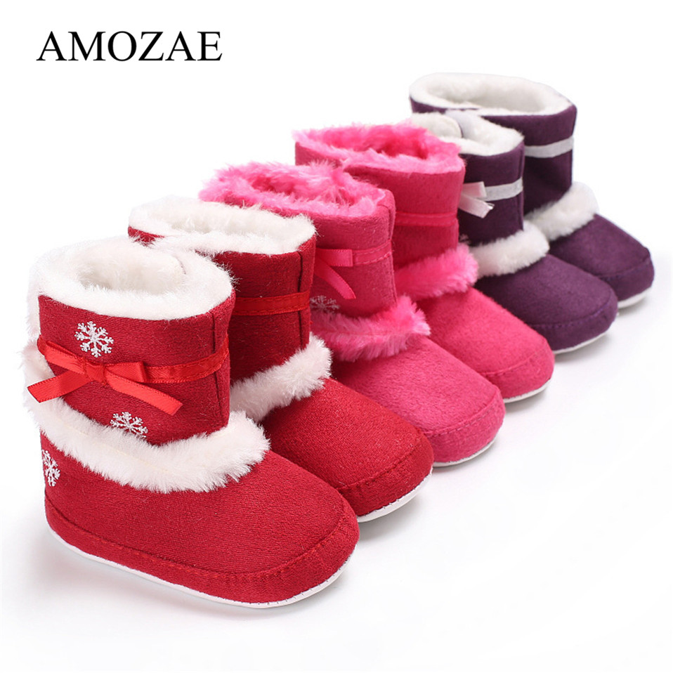 New Baby Girl Winter Christmas Boots Crochet Knit Fleece Baby Shoes Toddler Wool Infant Warm Soft Bottom First Walkers Booties