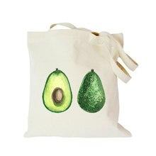 Origina customized eco canvas tote bag avocado printed shoulder for women big shopping handbag foldable advertising cute