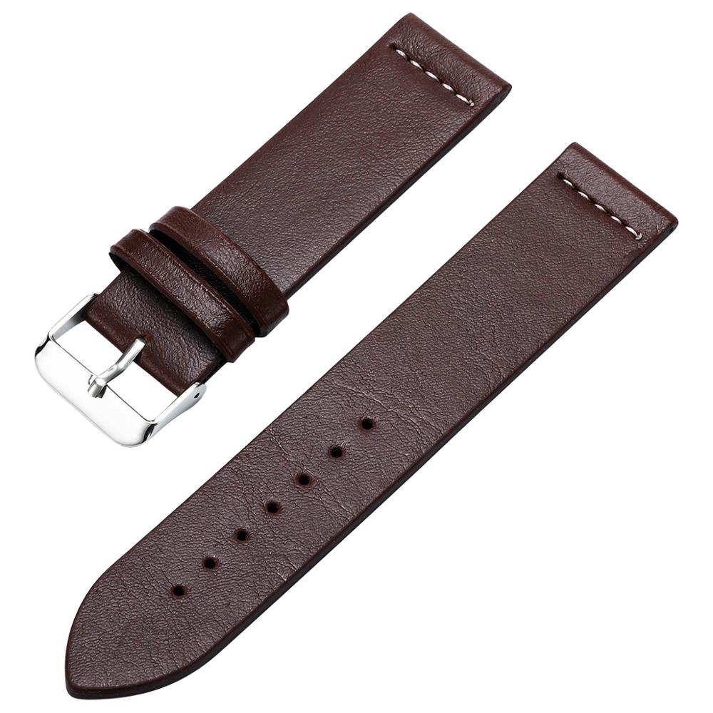 Fashion Men's Faux Leather Watch Strap Buckle Band Black Brown Yellow Wrist Strap High Quality Men Watchbands Replacement DOM