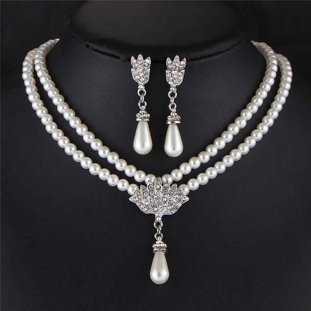 Faux Pearls Water Drop Pendant Double Layered Necklace Earrings Wedding Jewelry New Chic
