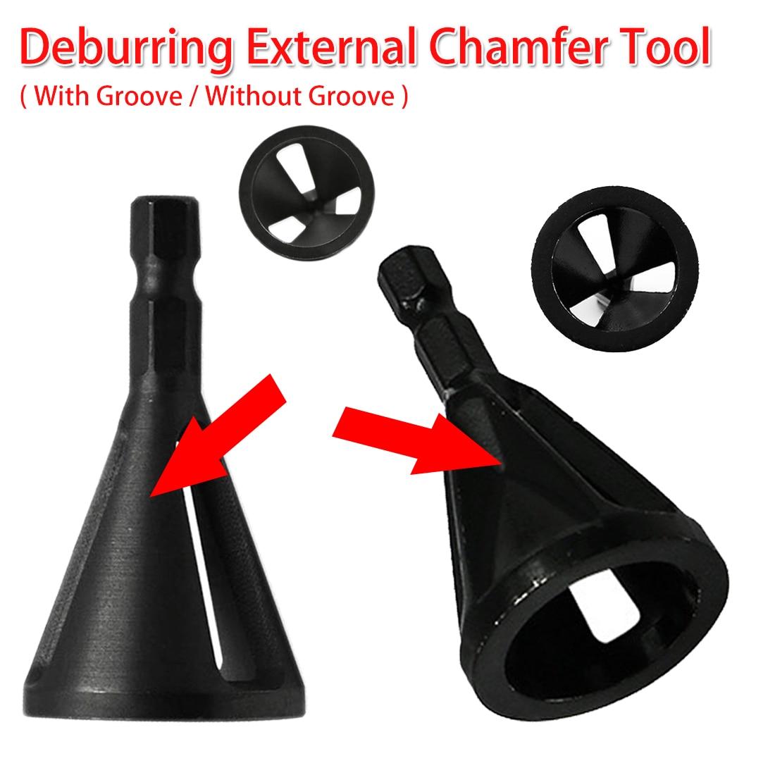 Steel Deburring External Chamfer Tool Drill Bit Remove Burr Tire Repair Damaged Bolts Woodworking 1/4 Shank 4-19mm Work Range