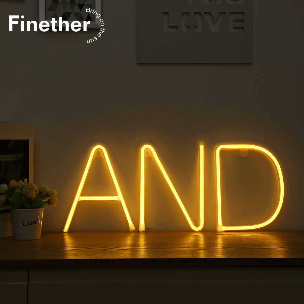 LED Neon Night Light Sign 26 Letters Shape AA Battery Powered DIY Light For Decorate Room Neon Light Home Party Club Bar