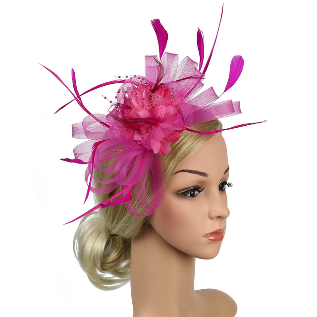Pink Womens Sinamay Fascinator Cocktail Headband Feather Kentucky Derby Hat T216