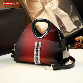 luxury Fashion women handbag Shell Bag female diamond Dumpling Patent Leather Bag Middle-aged Mom Bag Shoulder messenger bags