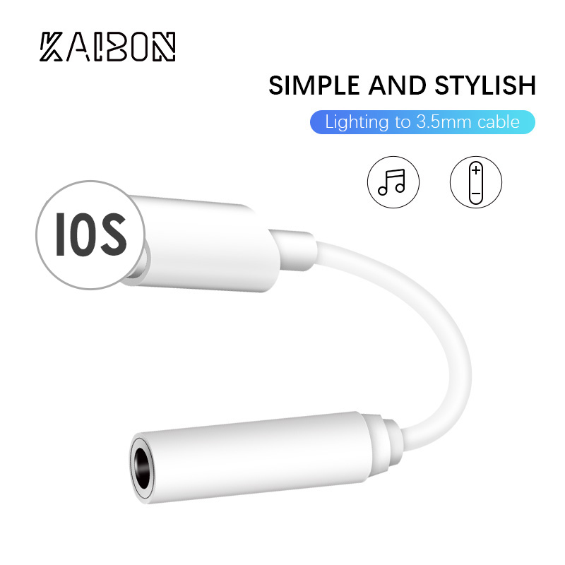 KAIBON For IOS Syetem Headphone Adaptador For IPhone 7 8 X AUX Audio Adapter For Lightning To 3.5mm Adapters Headphone Jack