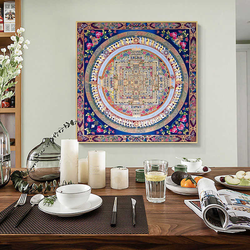 Modern Guanyin Mandala Thangka Posters and Prints Wall Art Canvas Painting Mural Pictures for Living Room Home Decor No Frame