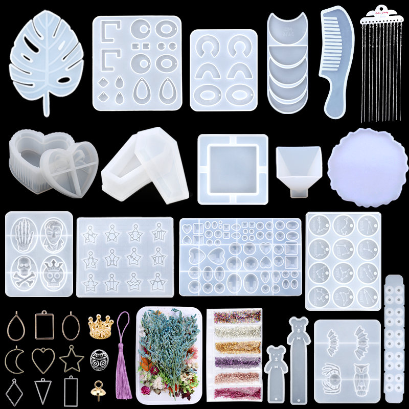 Kit de moldes de fundición de resina epoxi, moldes de fundición UV de silicona, caja de almacenamiento de posavasos colgante, moldes con accesorios para fabricación de joyas