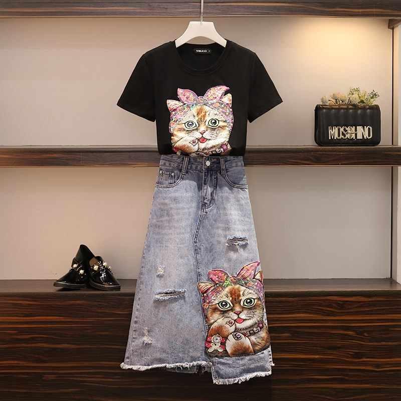 Conjunto de dos piezas falda de mezclilla de mujer pantalones vaqueros rasgados agujero de manga corta Camiseta de lentejuelas trajes traje elegante patrón de gato Plus tamaño de gran tamaño