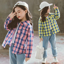 Get more info on the New Spring Autumn Teenager Girls Blouses Casual Long Sleeve Contrast Color Plaid Cotton Shirts Kids School Shirts Tops for Girls