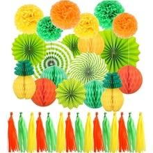 CSS 34 шт вечерние украшения бумажные вееры бумажные цветы-шары сотовые шары набор ананасовая бумага кисточка свадьба на дни рождения, особые события Fest