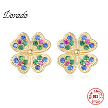 Dorado Real 925 Sterling Silver Four-leaf Clover Cute Stud Earrings For Women Girl Gift Colorful Zircon Trendy Brincos Jewelry hot sell high quality four leaf clover stud earrings classic jewelry for women brincos shell two flowers stud earrings wholesale
