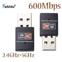 Kebidu 2 4GHz 5GHz 600mbps USB Wifi Adapter Wireless Network Card Wifi Antenna For Windows XP Vista 7 8 8 1 10 Mac cheap External ETHERNET Desktop 802 11a g 2 4G 5G 600 Mbps Windows XP Vista 7 8 8 1 10 Mac os X 10 4-10 11 2 4Ghz + 5 8Ghz 600Mbps wireless Network Card