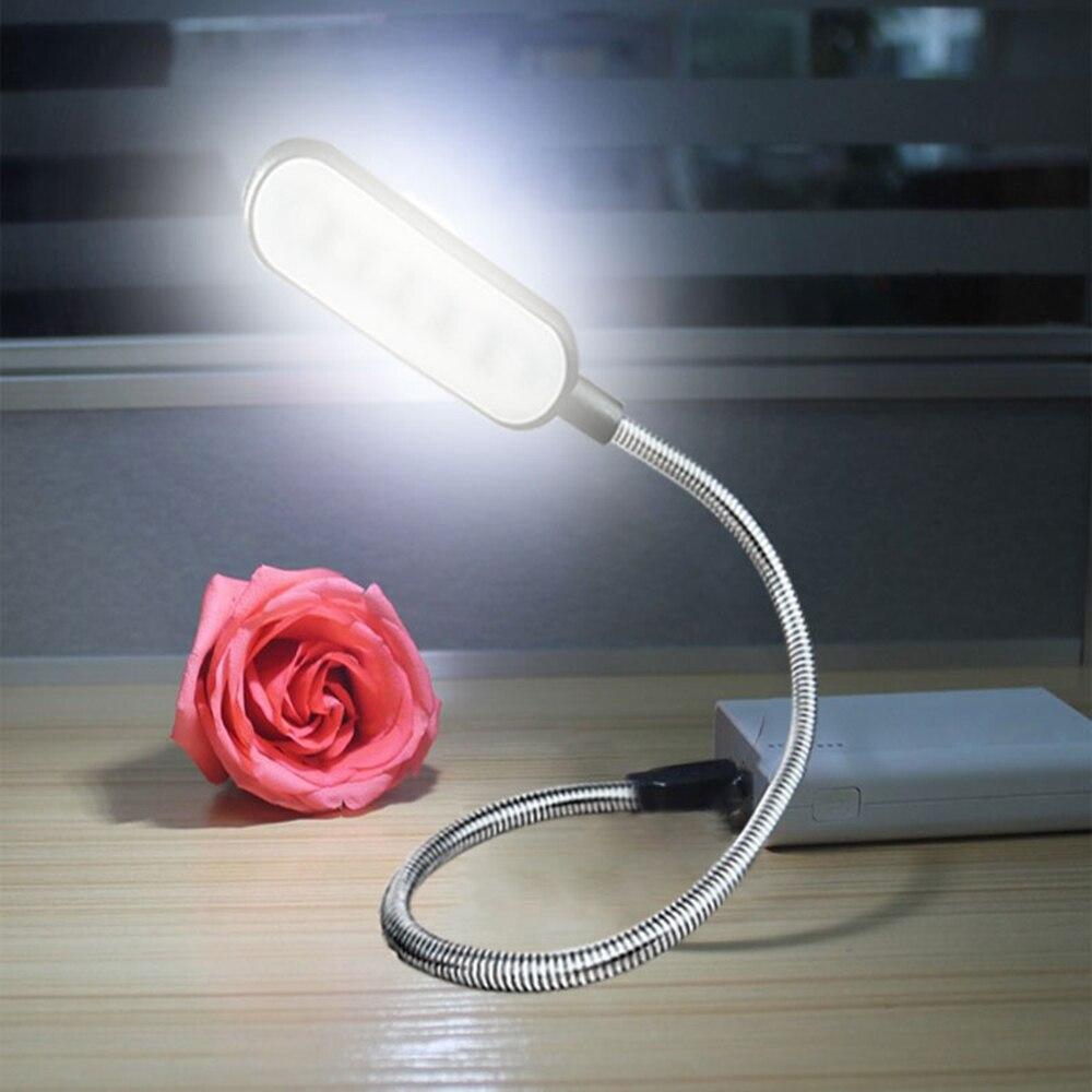 Portable USB LED Desk Lamps 360 Degree DC 5V Flexible Adjustable Table Lamp 6 LEDs Reading Book Lights Nightlight For Laptop PC
